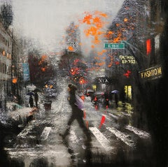 A Rainy Day at 18th Street, Painting, Oil on Canvas