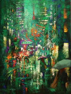 Green Night in Broadway, Painting, Oil on Canvas