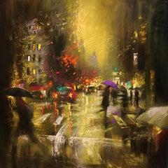 PASSING STORM ON LEXINGTON AVENUE, Painting, Oil on Canvas