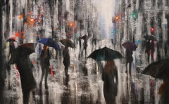 WINTER RAIN in Washington Square, Painting, Oil on Canvas