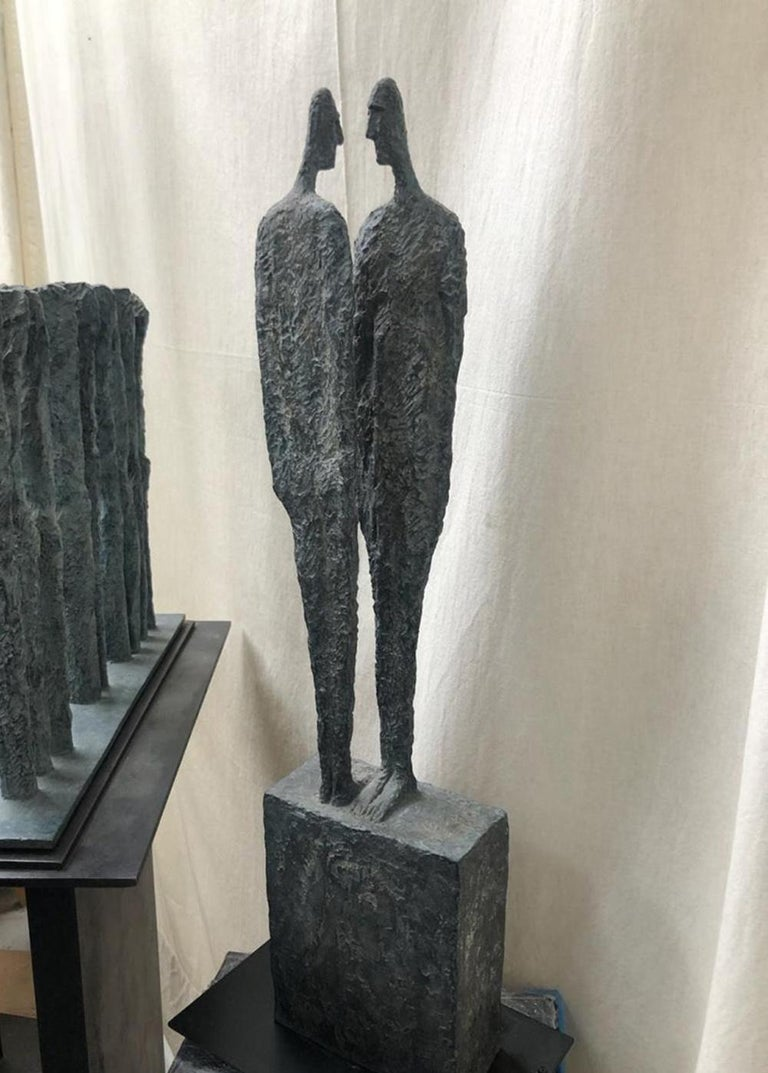 The Great Secret by Martine Demal - Contemporary bronze sculpture, human figure For Sale 4