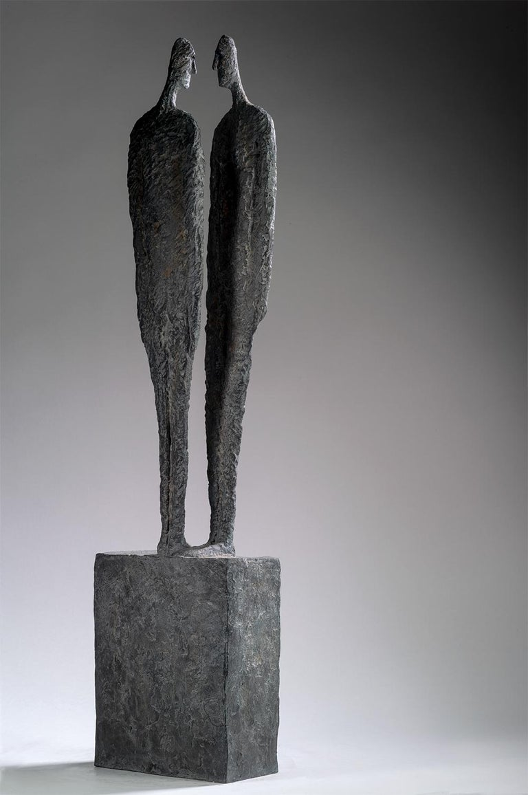 The Great Secret by Martine Demal - Contemporary bronze sculpture, human figure For Sale 1
