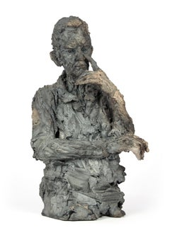 The Cracked Man, Male Portrait, Ceramic Sculpture