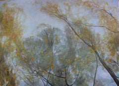 Aspens' and Willows' Branches in Autumn, contemporary landscape painting