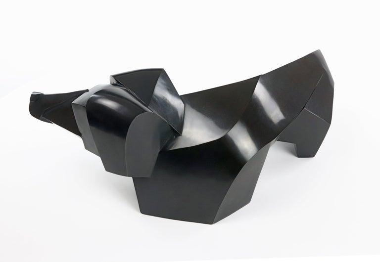 Teckio, Animal Bronze Sculpture of a dachshund For Sale 2