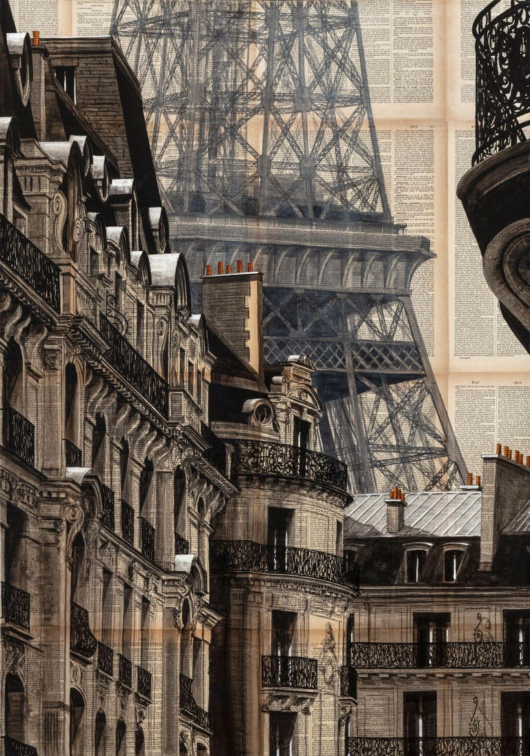 Through his figurative paintings, Guillaume Chansarel seeks to capture the graphic identity of a city (in this case, the Haussmann's buildings of Paris and the Eiffel Tower), in the same way as an architecture photographer would. The singularity of
