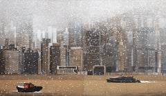 HK Bay - Painting, Hong Kong on a Snowy Day