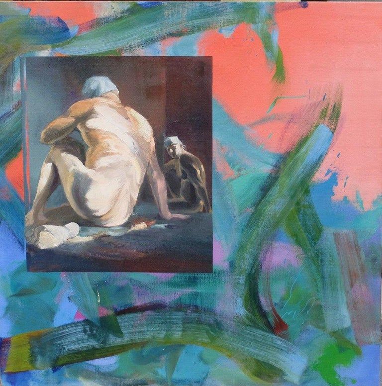 """Wild (2015) by French contemporary artist Christophe Dupety. Oil on canvas, 100 x 100 cm. In this series simply entitled """"Nus"""" (nudes), the artist is superimposing and juxtaposing two images. On one hand a brightly colored painting, of abstract"""