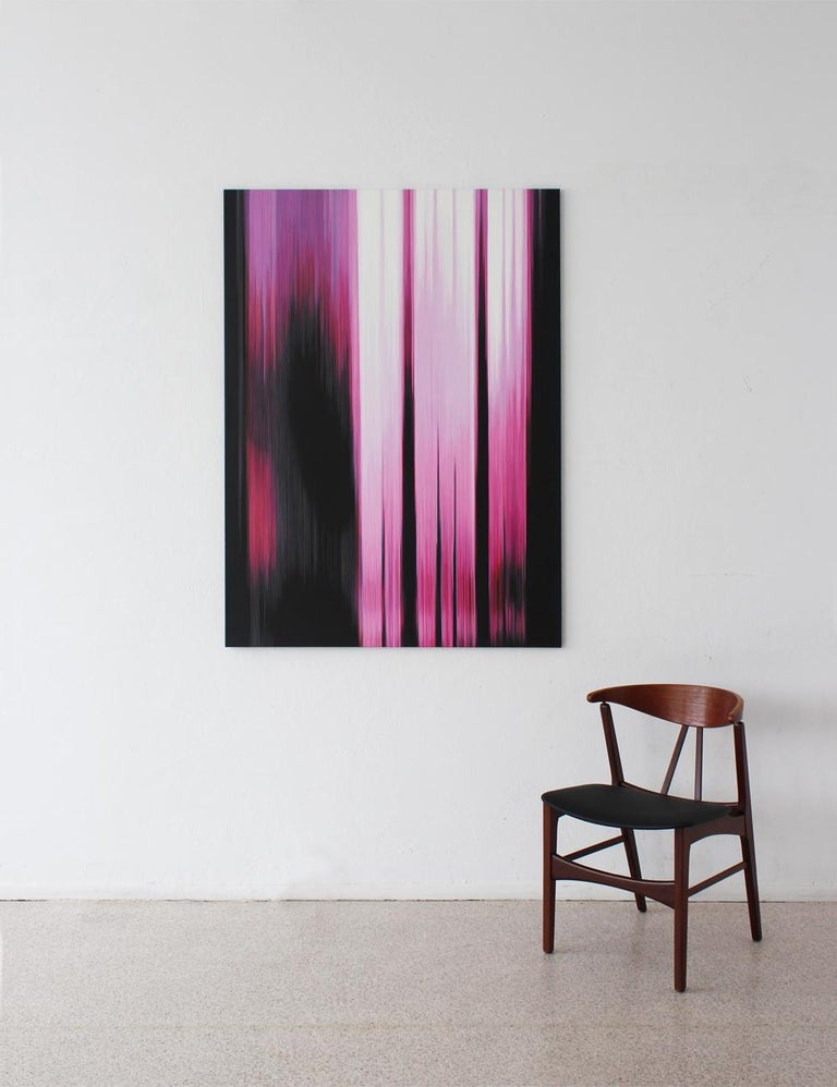 Oil on cotton canvas, 150 x 110 cm. Inspired by a digital phenomenon, the Pink Paintings series revolves around a notion of abstraction. The parallel lines, so characteristic of the artist's work, imitate the result of a digital camera