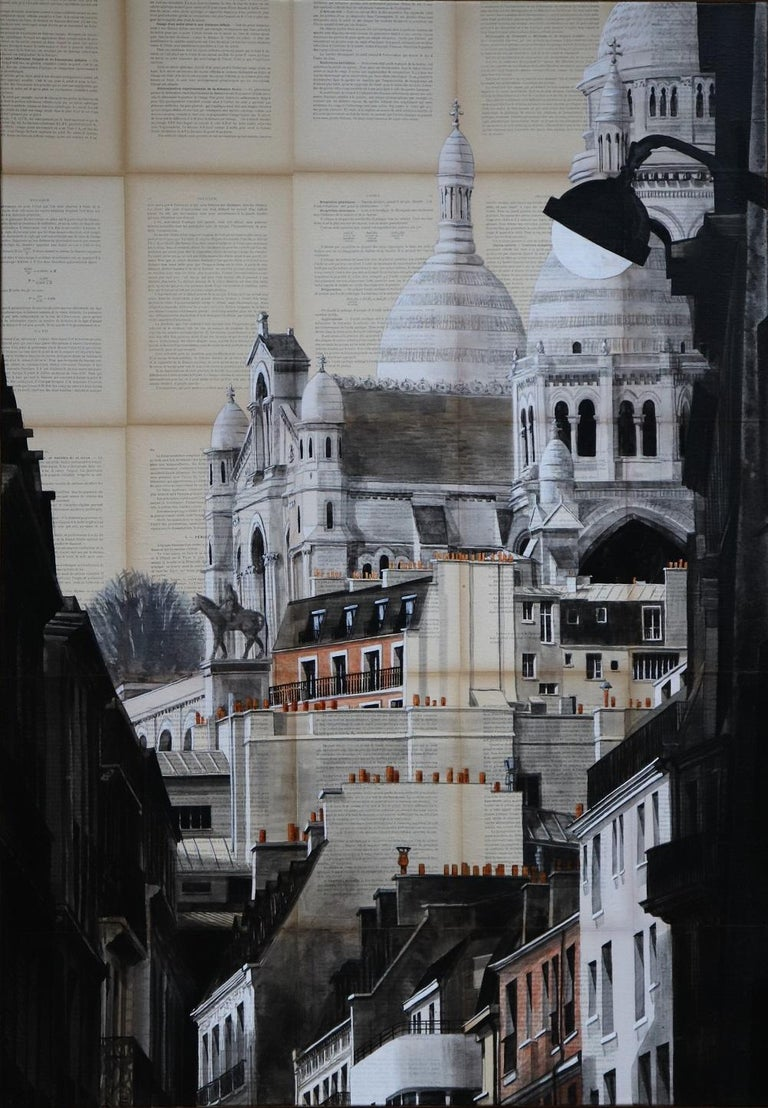 Ink and acrylic on old book pages mounted on canvas, 116 x 81 cm. Through his figurative paintings, Guillaume Chansarel seeks to capture the graphic identity of a city (in this case, the Basilica on the Sacred Heart of Montmartre in Paris), in the