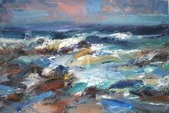 Wild Day Hopeman Beach - Scottish Landscape Painting