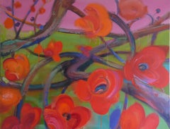 Papavera by Christophe Dupety - Contemporary painting, Flora, red, bright colors
