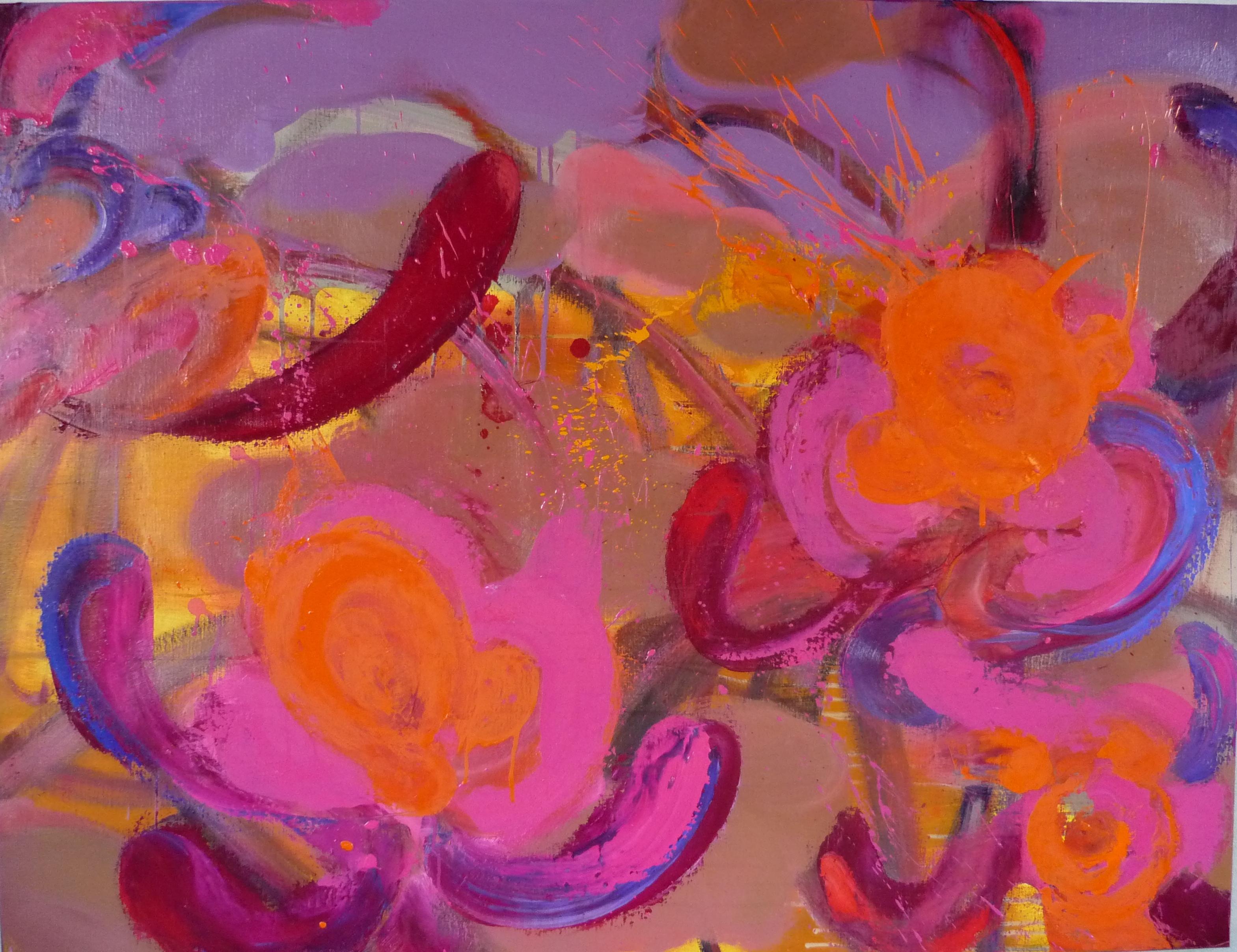 Bonnet d'Evêque (Spindle) - flower painting, bright colors, orange, pink and red