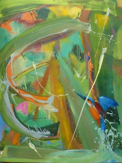 Alcedo Atthis by Christophe Dupety - Contemporary painting, bright colors, bird