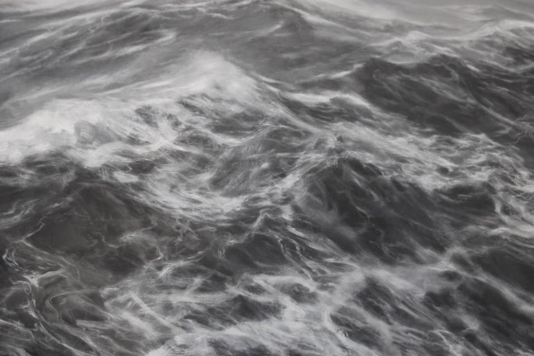 Oil on canvas, 200 cm x 300 cm (2019); Focusing his artistic research on the gesture, Chilean-French artists Franco Salas Borquez (b. 1979) paints the waves using an intuitive but rigorous hand to achieve the same degree of fluidity as the sea. Thus