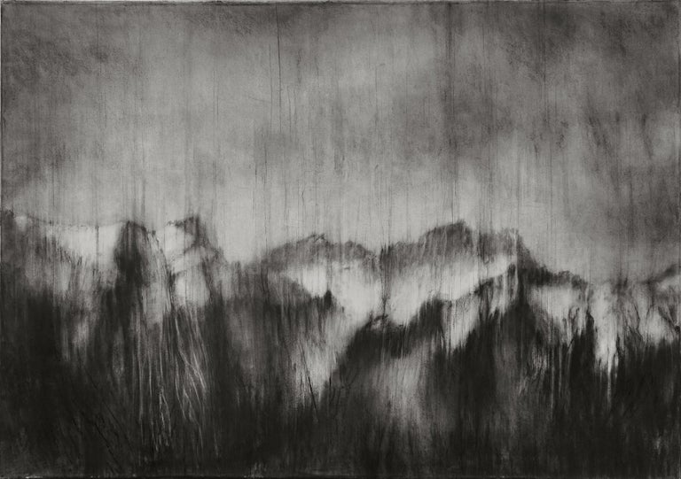 Guy Oberson Landscape Art - Alps I (contemporary black-stone drawing, landscape)