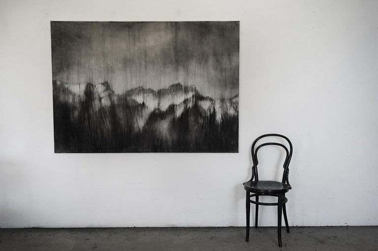 Alps I (contemporary black-stone drawing, landscape) - Art by Guy Oberson