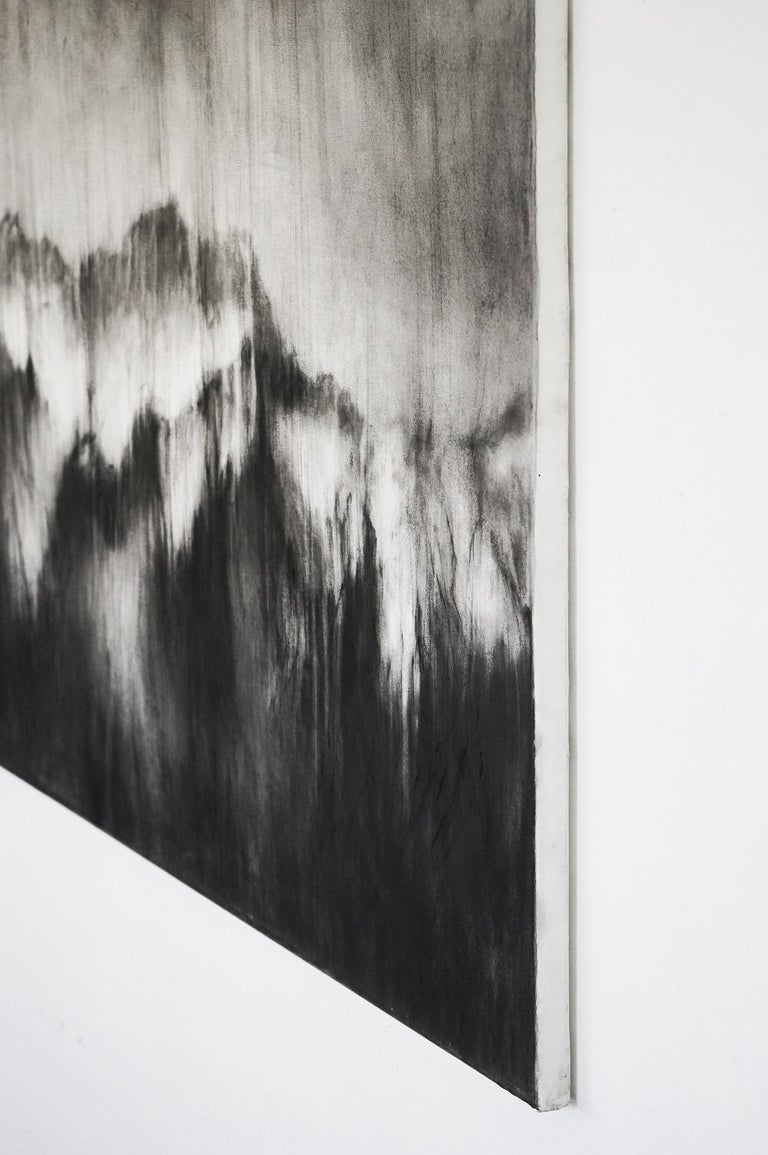 Alps I (contemporary black-stone drawing, landscape) - Contemporary Art by Guy Oberson