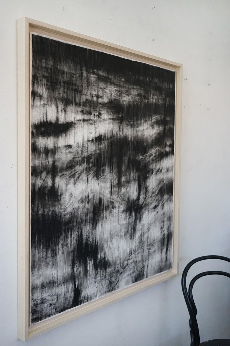 Sea under the moonlight (contemporary black-stone drawing) - Art by Guy Oberson