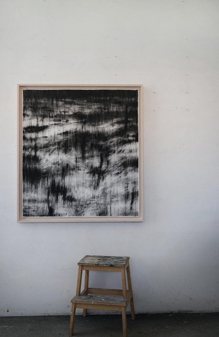 Sea under the moonlight (contemporary black-stone drawing) - Contemporary Art by Guy Oberson