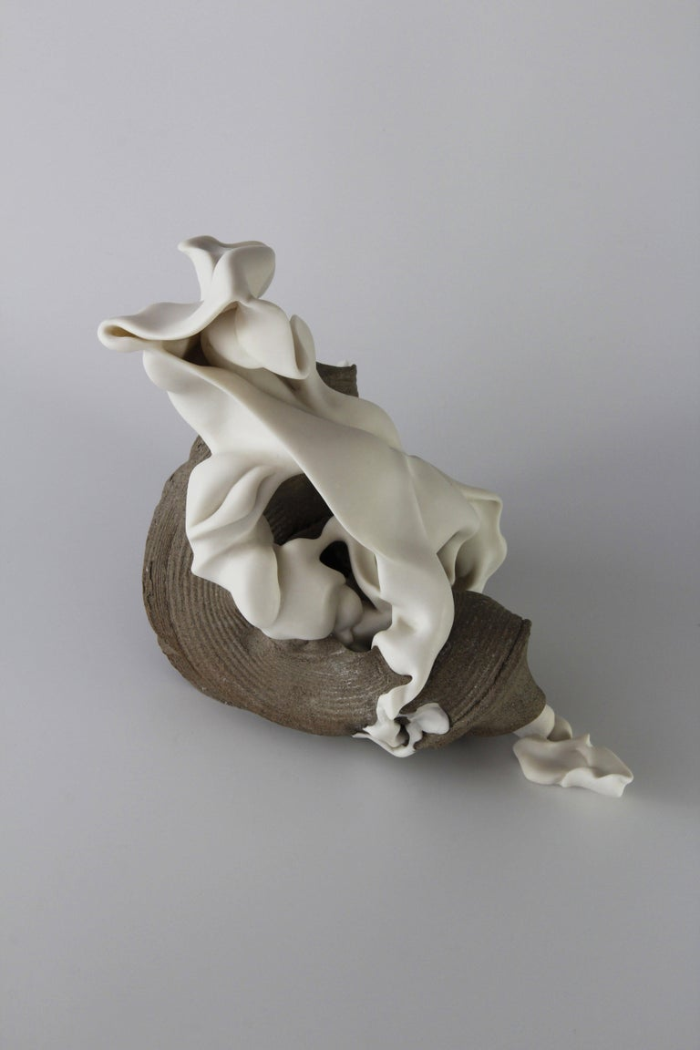 Sharon Brill Abstract Sculpture - Relations 1 - Abstract porcelain sculpture