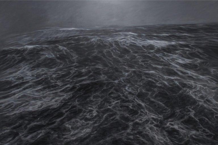 Franco Salas Borquez Figurative Painting - Dark Clamour by F. S. Borquez - Seascape painting, Ocean waves, Large canvas