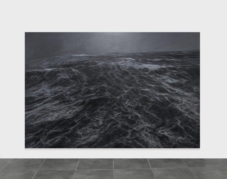 Dark Clamour by F. S. Borquez - Seascape painting, Ocean waves, Large canvas - Painting by Franco Salas Borquez