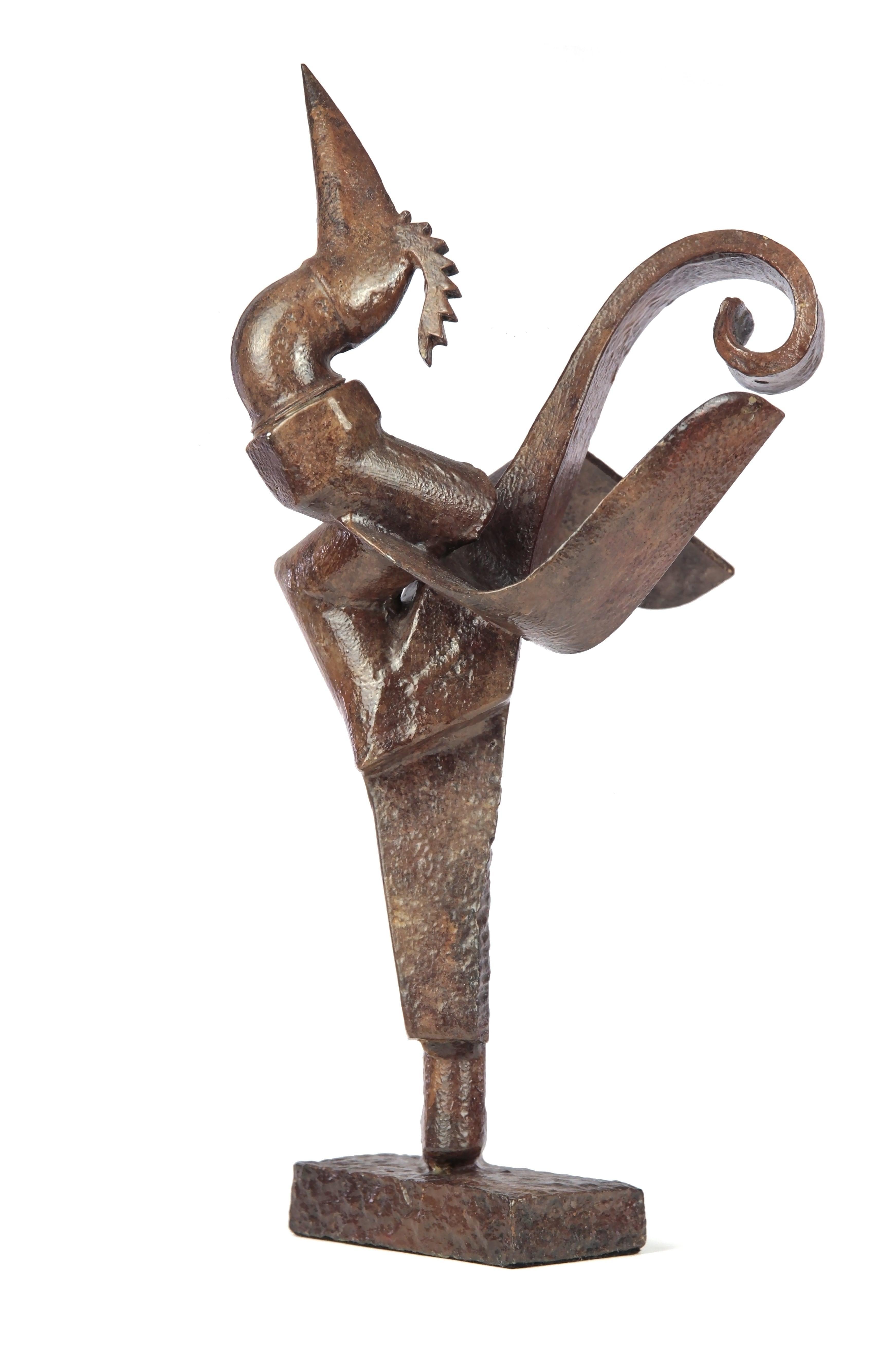 Tuyau coq - Animal bronze sculpture (rooster)