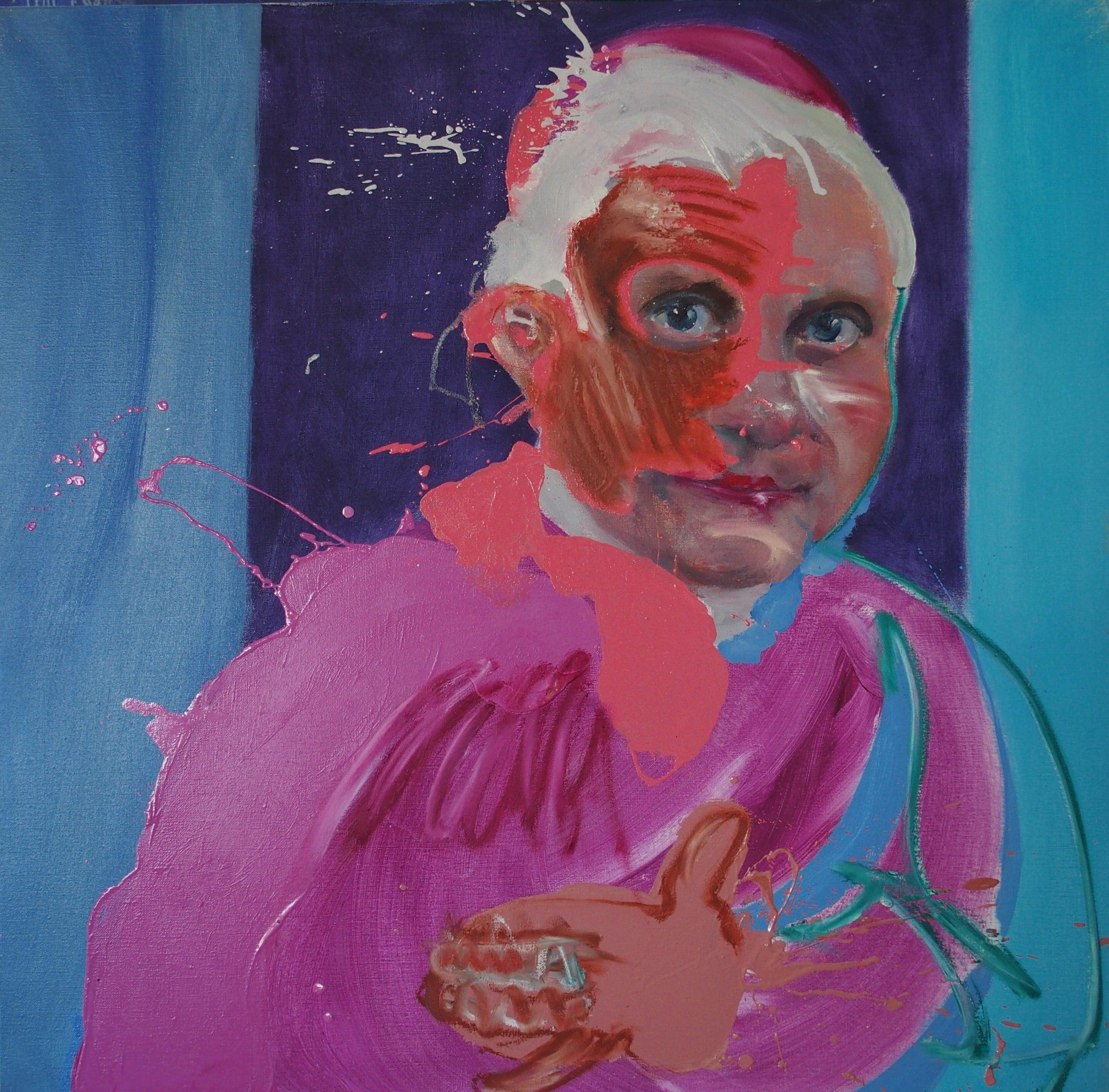 Ratzinger Chocolat by Christophe Dupety - portrait painting, pope