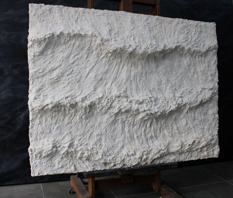 Marble powder. 95 cm x 130 cm. This artwork is sold unframed, with a certificate of authenticity signed by the artist.  Focusing his artistic research on the gesture, Chilean-French artists Franco Salas Borquez (b. 1979) paints the waves using an