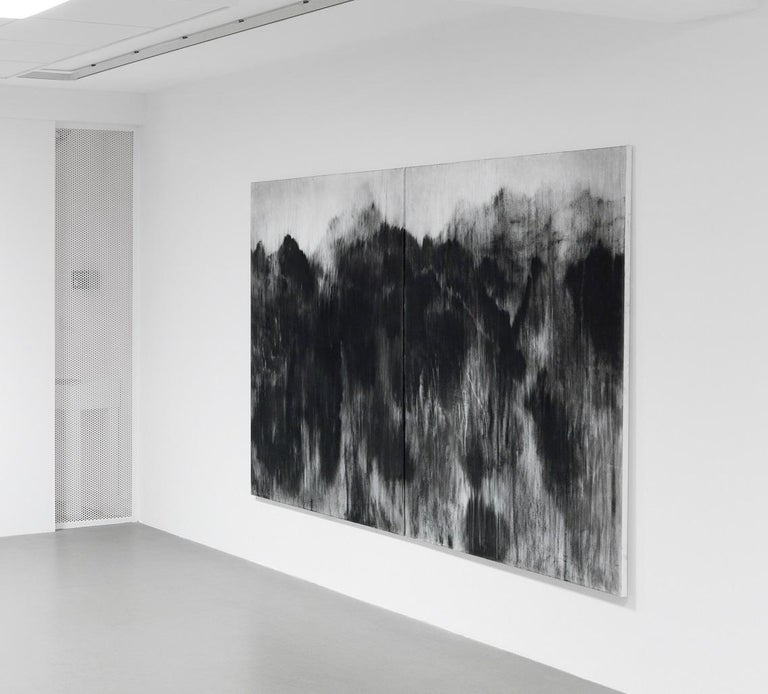 Black (Personal Mountains) - Contemporary black-stone drawing, landscape - Art by Guy Oberson