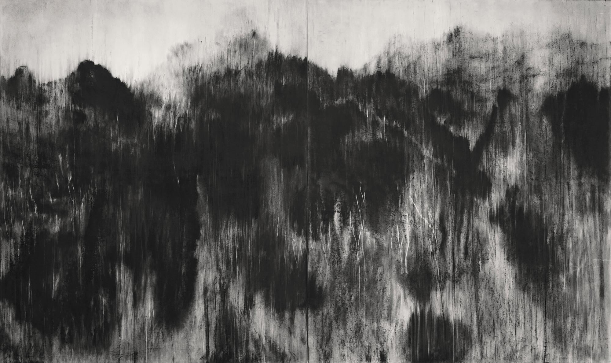 Black (Personal Mountains) - Contemporary black-stone drawing, landscape
