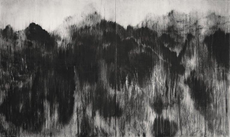 Guy Oberson Landscape Art - Black (Personal Mountains) - Contemporary black-stone drawing, landscape