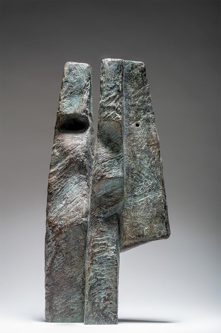 Janus Heads by Martine Demal - Contemporary bronze sculpture, Semi Abstract For Sale 1