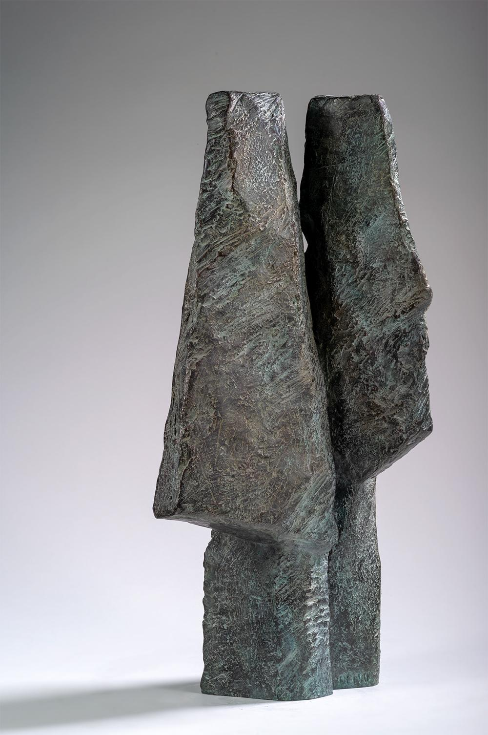 Janus Heads by Martine Demal - Contemporary bronze sculpture, Semi Abstract