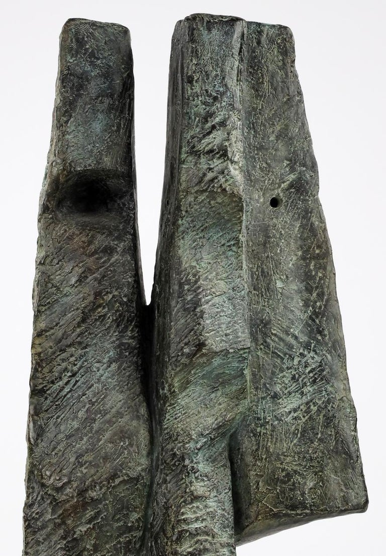 Janus Heads by Martine Demal - Contemporary bronze sculpture, Semi Abstract For Sale 2