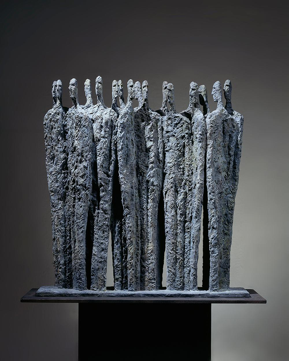 The Meeting by Martine Demal - bronze sculpture, group of human figures