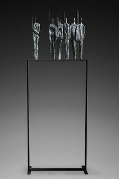 The Warriors by Martine Demal - bronze sculpture, group of human figures
