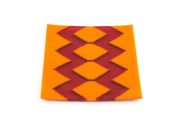 Modernist Abstract Art Objet - unique original artwork fused glass - Orange