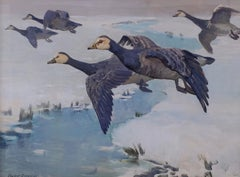 Barnacle Geese in Flight A 20th Century Bird Painting