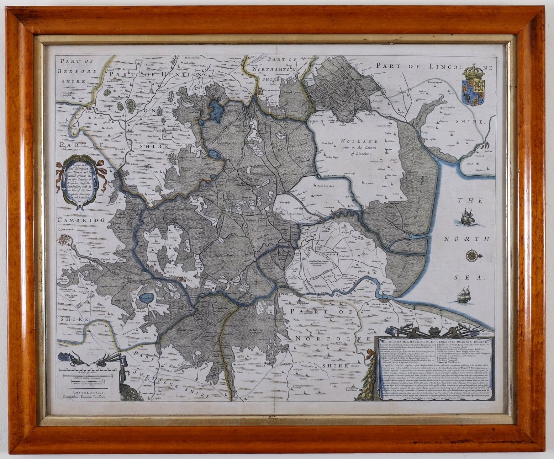 Antique Map of Lincoln & Norfolke Circa 1610