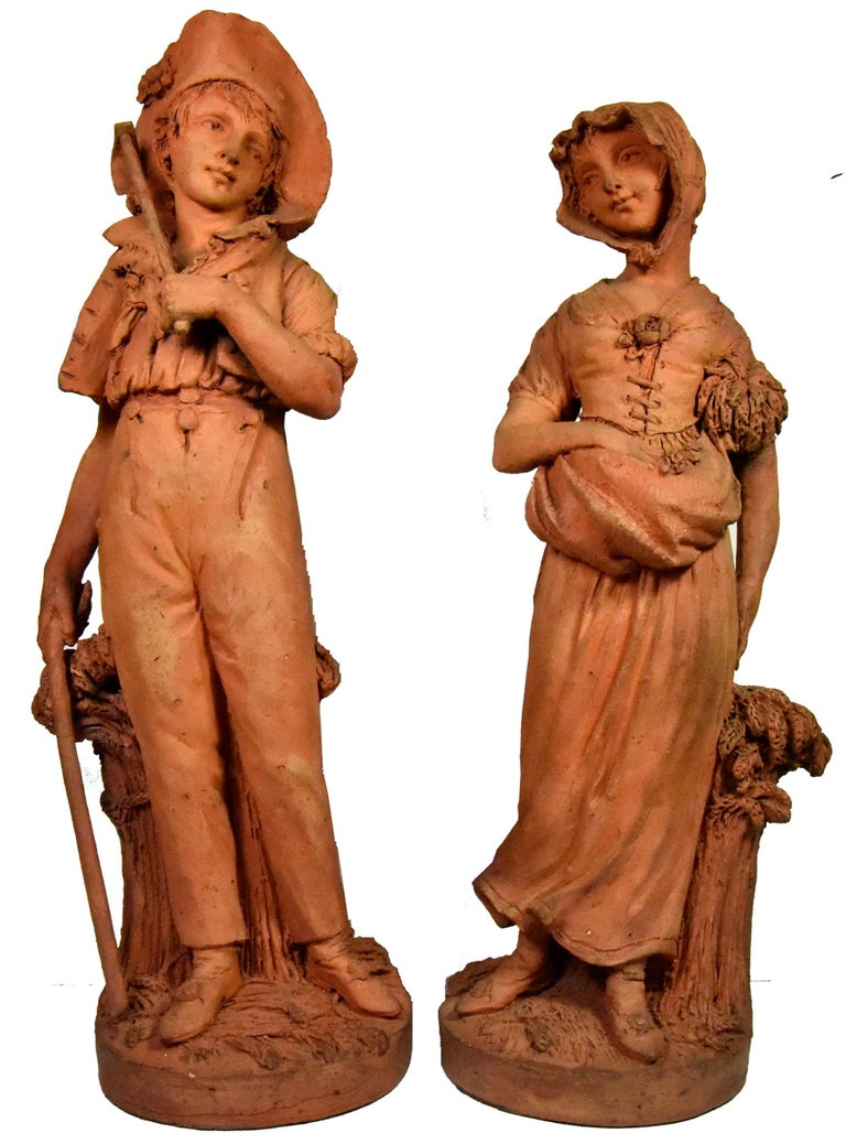 DELAVILLE Louis Figurative Sculpture - Couple of peasants - original terracotta figures by Louis Delaville, 1805