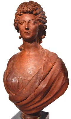 Terracotta bust of a woman from the revolutionary period by Martin de Grenoble,