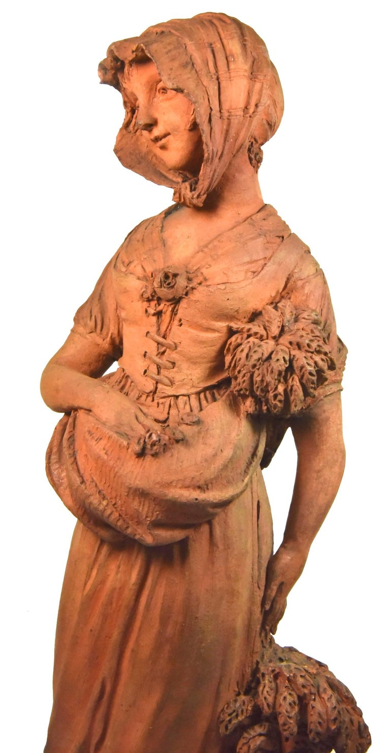 Couple of peasants - original terracotta figures by Louis Delaville, 1805 - Sculpture by DELAVILLE Louis