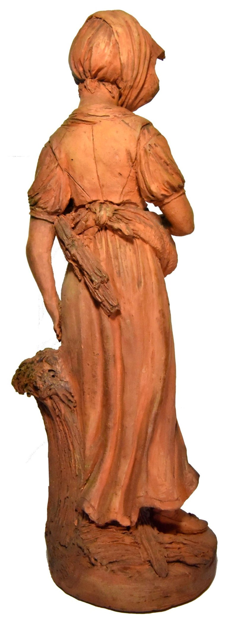 Couple of peasants - original terracotta figures by Louis Delaville, 1805 - Brown Figurative Sculpture by DELAVILLE Louis