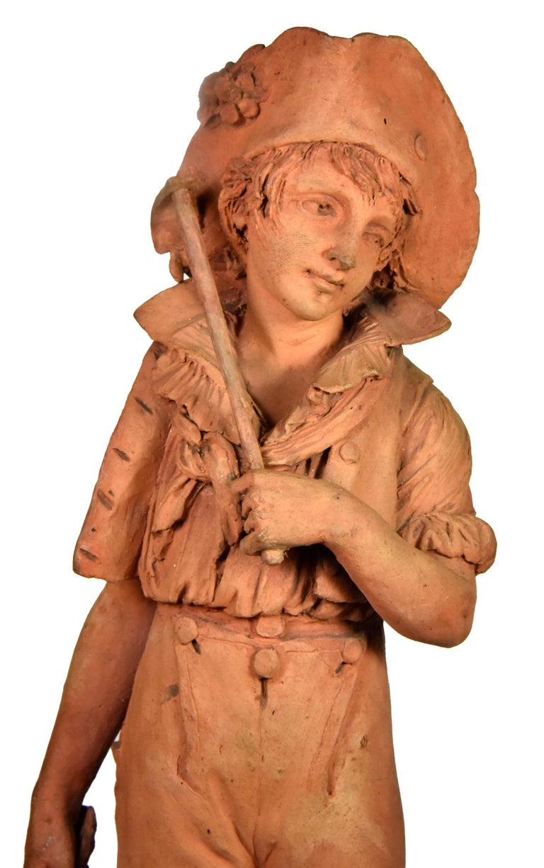 Couple of peasants - original terracotta figures by Louis Delaville, 1805 For Sale 3