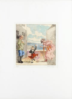 Dance to your Daddy -- Print, Etching, Hand-coloured, Father's Day, by Rego
