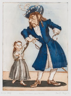 Wendy and Hook -- Unique, Etching, Hand-coloured, Peter Pan, Print by Paula Rego