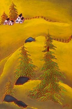 Foins, landscape oil painting of farm fields