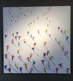 Contemporary 3D Alpine Figurative Landscape 'Ski School' by Max Todd